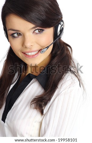Customer support girl. - stock photo