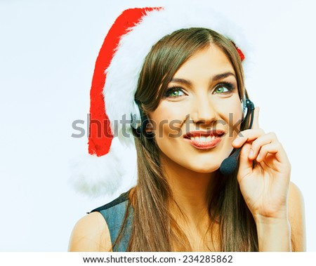 Customer support operator close up portrait. call center smiling operator Cristmas Santa girl look. - stock photo
