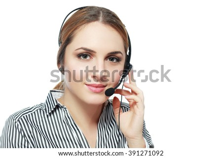 Customer support operator. Woman face.Call center smiling operator with phone headset on white background.Attractive young people working in a call center - stock photo