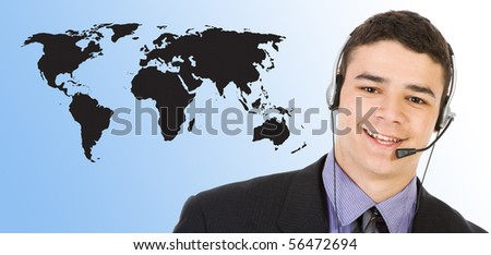 Customer support over the world map - stock photo