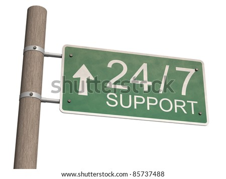 Customer support sign. Isolated on the white background. - stock photo