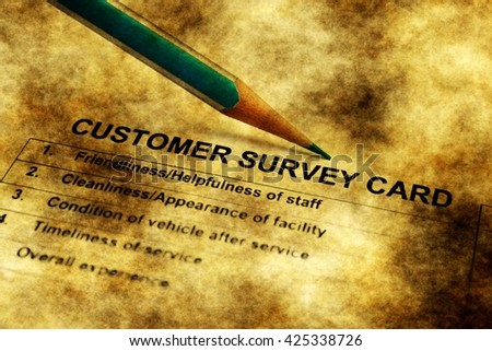 Customer survey card grunge concept - stock photo