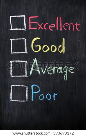 Customer survey or poll of four levels with check boxes on blackboard - stock photo