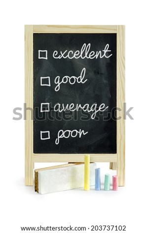customer survey or poll with check boxes on blackboard, isolated on white Clipping path  - stock photo