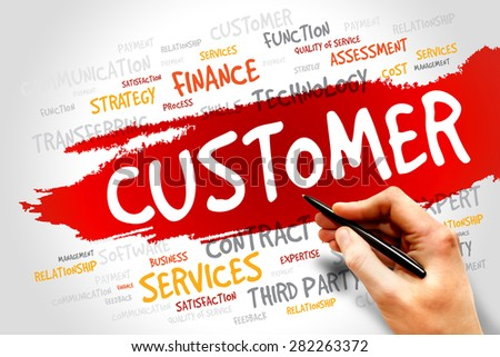 Customer word cloud, business concept - stock photo
