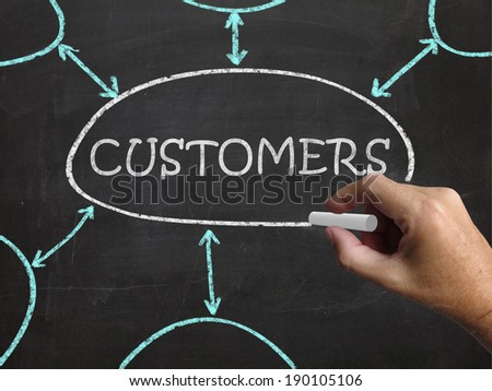 Customers Blackboard Showing Consumers Buyers And Patrons - stock photo