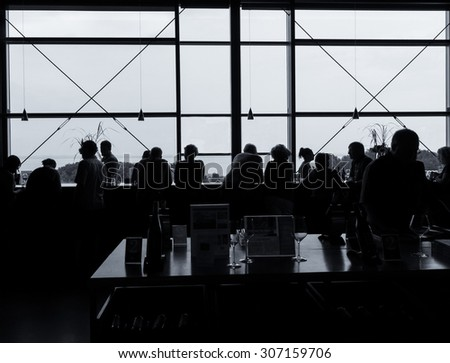 Customers enjoy a wine tasting at a hilltop winery, silhouette effect