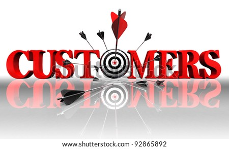 customers red word and conceptual target with arrow on white background