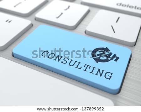 Customers Service Concept - The Blue Consulting Button on Modern Computer Keyboard. 3D Render. - stock photo