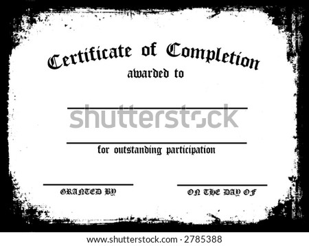 Customizable certificate of completion - stock photo
