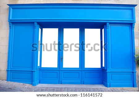 Customizable front store. Windows are isolated and it easy for you to add whatever you like behind the windows - stock photo