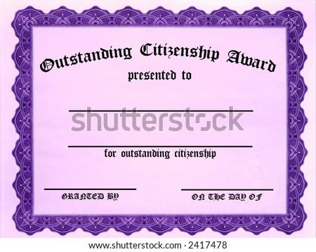 Customizable Outstanding Citizenship Award certificate - stock photo