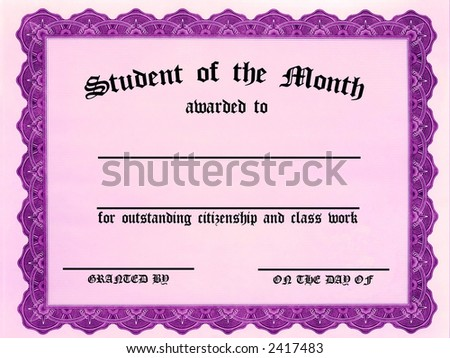 Customizable Student on the Month certificate