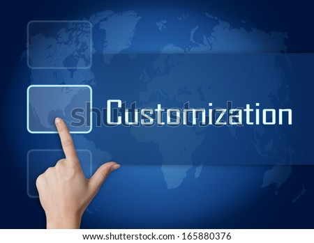 Customization concept with interface and world map on blue background - stock photo
