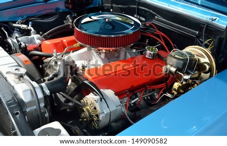 Customized car engine - stock photo
