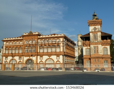 Customs Manaus. The building was inaugurated in 1906. Was entirely prefabricated in England, where the blocks were imported suited to the climate of the Amazon