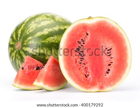 Cut and whole watermelon isolated on white background