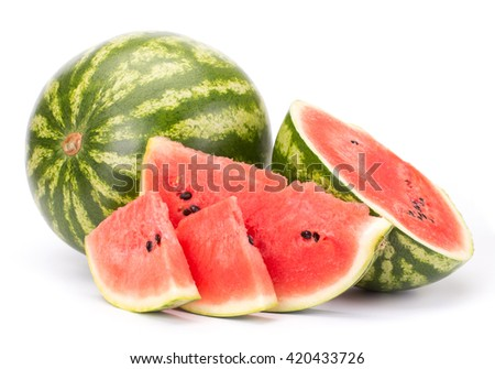 Cut and whole watermelon isolated on white background - stock photo