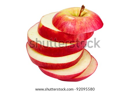 Cut apple isolated on a white background