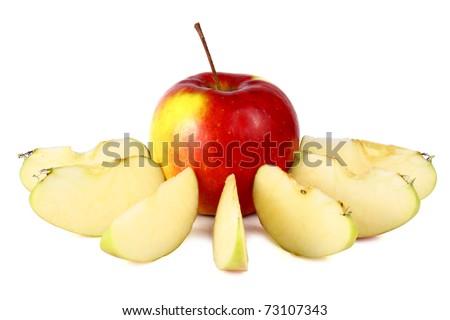 cut apple isolated on white background - stock photo