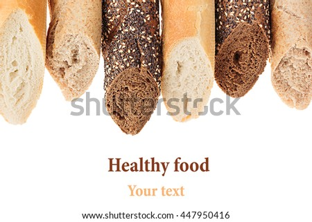 Cut baguette bread of different varieties on a white background. Rye, wheat and whole grain bread. Isolated. Decorative frame of bread. Food background. Copy space.