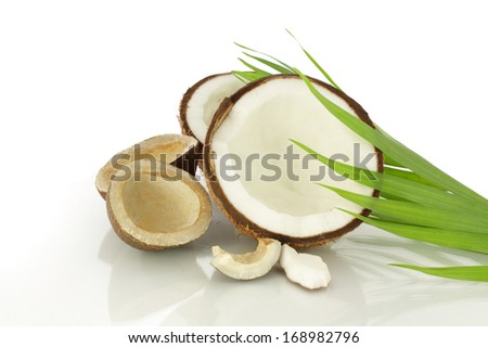 cut coconut dry and fresh with leaves