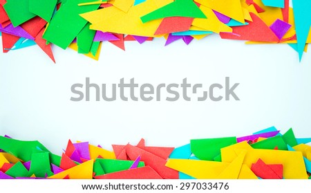 Cut color paper frame isolated on white background - stock photo