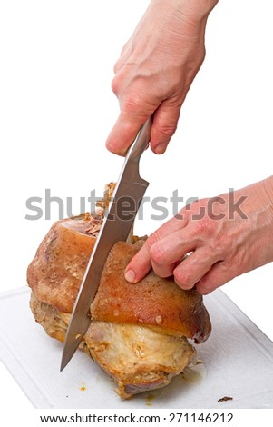 Cut cooked meat with bone isolated on white background - stock photo