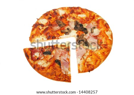 Cut cooked pizza isolated on a white background