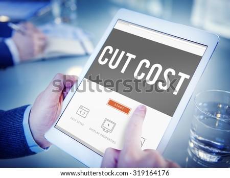 Cut Cost Reduce Recession Deficit Economy FInance Concept - stock photo