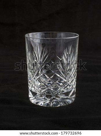cut crystal drinking glass tumbler for spirits, whiskey,scotch - stock photo