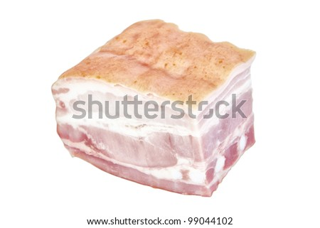 Cut delicious ham. On a white background.