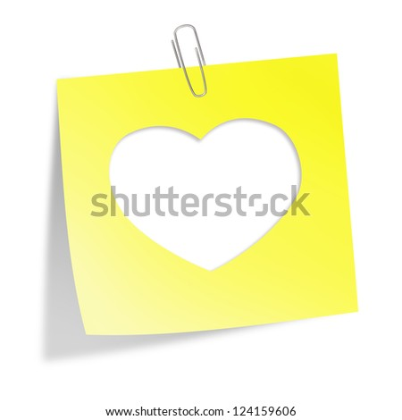 Cut heart in yellow sticker note with clip isolated on white. Illustration