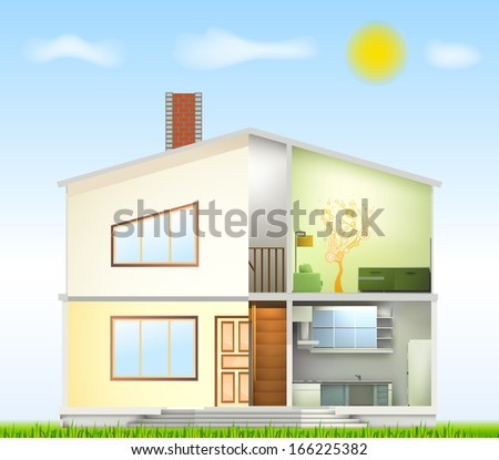 Cut in house interiors and part facade - stock photo