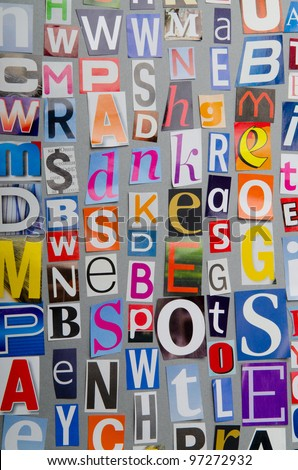 Cut letters from newspapers and magazines - stock photo