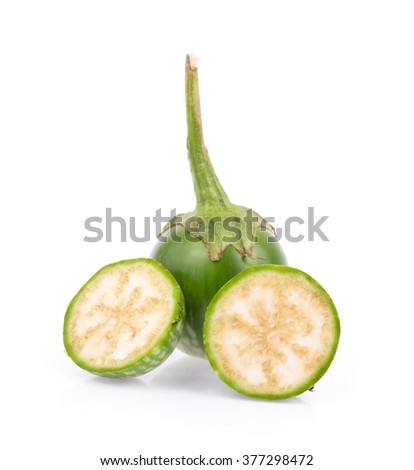 Cut of Thai eggplant isolated on white background.