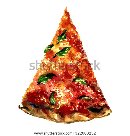 Cut off slice pizza isolated, watercolor painting on white background - stock photo