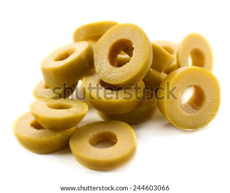 Cut olive rings isolated on white - stock photo