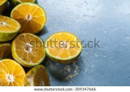 Cut orange juice to drink to live.  - stock photo