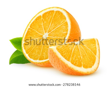 Cut oranges with leaves on white background, with clipping path - stock photo