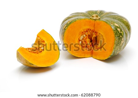 cut pumpkin on white background - stock photo