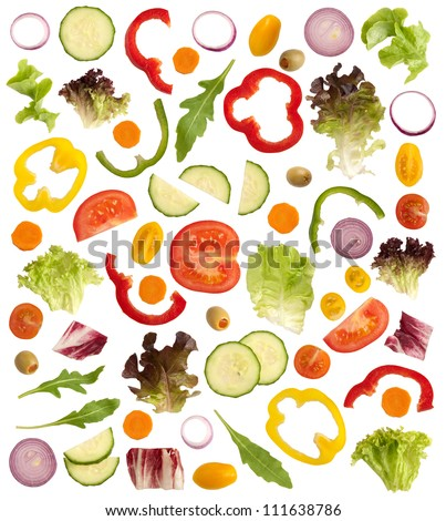 Cut raw vegetables isolated on white background - stock photo
