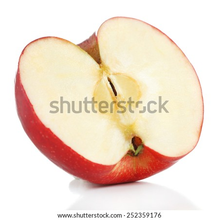 Cut red apple isolated on white - stock photo