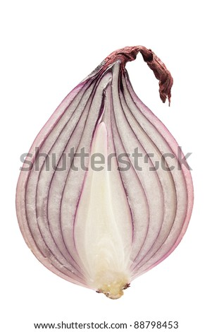 Cut red onion isolated on white background. - stock photo