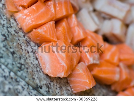 cut salmon blocks or sushi