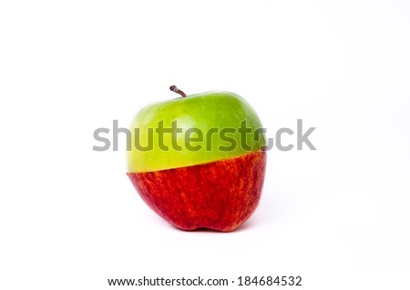 Cut Slice Half red and green apple together isolated on white background.