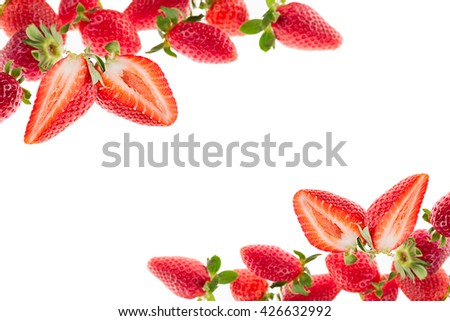 Cut strawberry on a white background. Isolated. Sliced strawberry on strawberry background. Strawberry background. Macro. Texture.  Frame with copy space. Fruit background. Spring, summer background. - stock photo