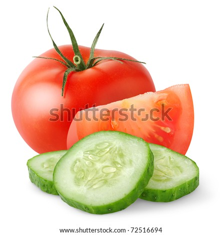 Cut tomato and cucumber isolated on white