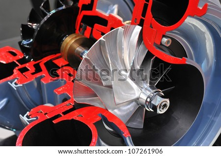 Cutaway model of a turbocharger - stock photo