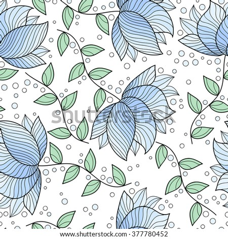 Cute abstract seamless pattern with leaves and flowers.